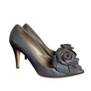 Valentino Garavani Women's Dark Brown Heel Pumps with Flower Detail